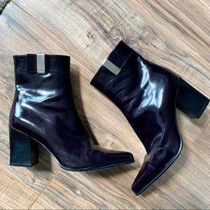PRADA leather plum color booties